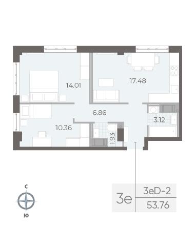 2-комнатная квартира №17А в: Neva Residence: 53.76 м²; этаж: 3 - купить в Санкт-Петербурге