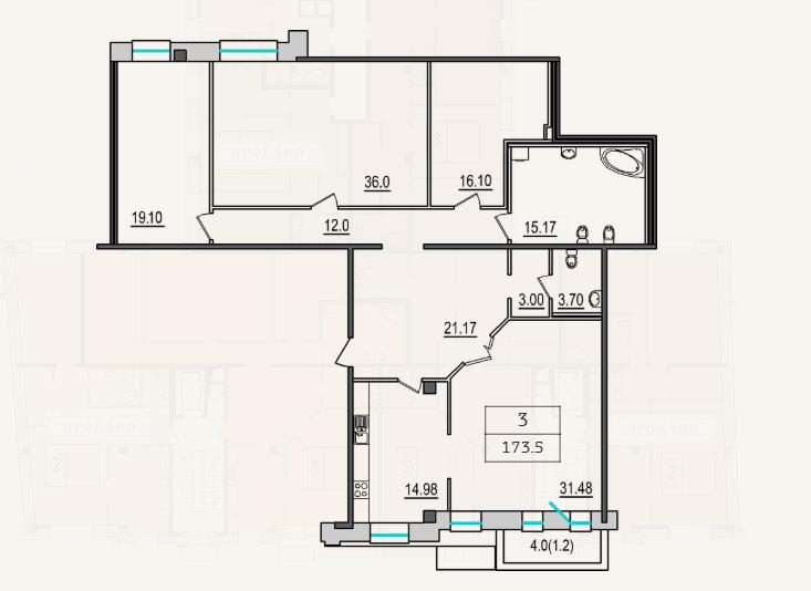 3-комнатная квартира №9 в: 4-я Советская, 9: 172.4 м²; этаж: 2 - купить в Санкт-Петербурге