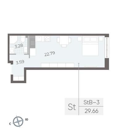 1-комнатная квартира №17А в: Neva Residence: 29.66 м²; этаж: 3 - купить в Санкт-Петербурге