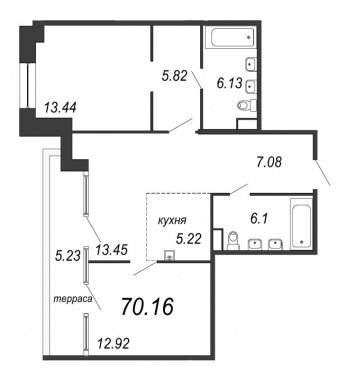 2-комнатная квартира, 71.73 м²; этаж: 11 - купить в Санкт-Петербурге