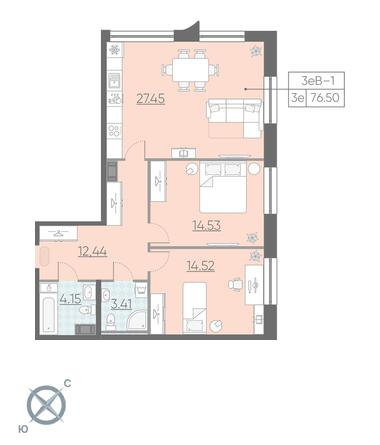 3-комнатная квартира №3 в: ЖК NEOPARK: 76.5 м²; этаж: 5 - купить в Санкт-Петербурге