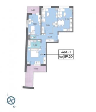 3-комнатная квартира, 92.18 м²; этаж: 15 - купить в Санкт-Петербурге