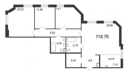 3-комнатная квартира, 118.76 м²; этаж: 5 - купить в Санкт-Петербурге