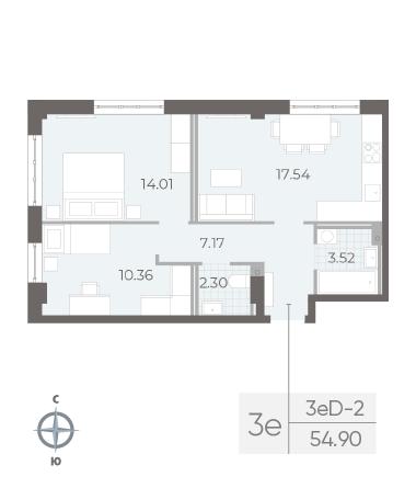 2-комнатная квартира №17А в: Neva Residence: 54.9 м²; этаж: 2 - купить в Санкт-Петербурге