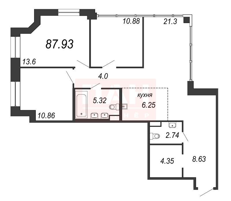 3-комнатная квартира, 87.93 м²; этаж: 12 - купить в Санкт-Петербурге