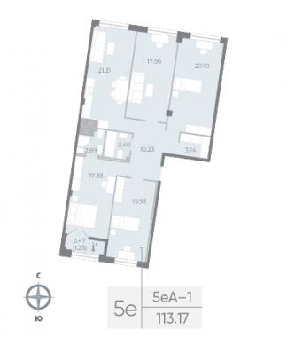 4-комнатная квартира №17А в: Neva Residence: 113.17 м²; этаж: 6 - купить в Санкт-Петербурге