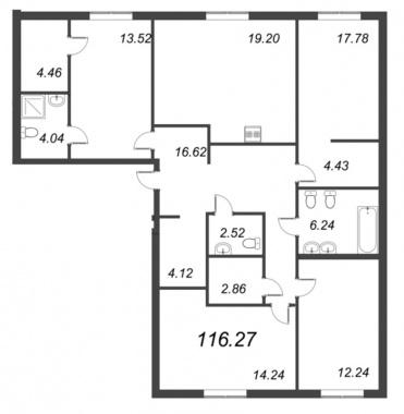 4-комнатная квартира, 116.27 м²; этаж: 2 - купить в Санкт-Петербурге