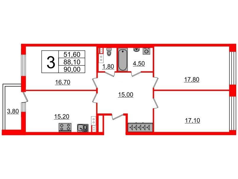 3-комнатная квартира №3 в: Светлана парк: 88.1 м²; этаж: 6 - купить в Санкт-Петербурге