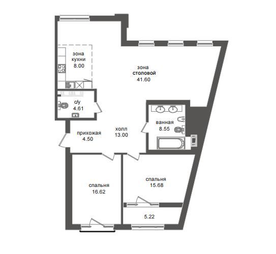 2-комнатная квартира №32А в: Приоритет: 117.47 м²; этаж: 5 - купить в Санкт-Петербурге