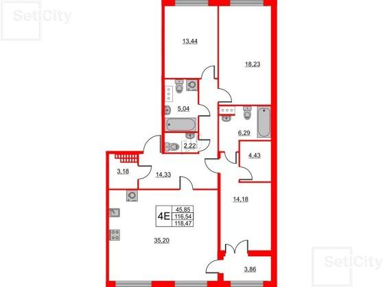 3-комнатная квартира, 116.54 м²; этаж: 4 - купить в Санкт-Петербурге