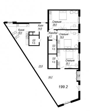 4-комнатная квартира №27 в: Meltzer Hall: 199.2 м²; этаж: 4 - купить в Санкт-Петербурге