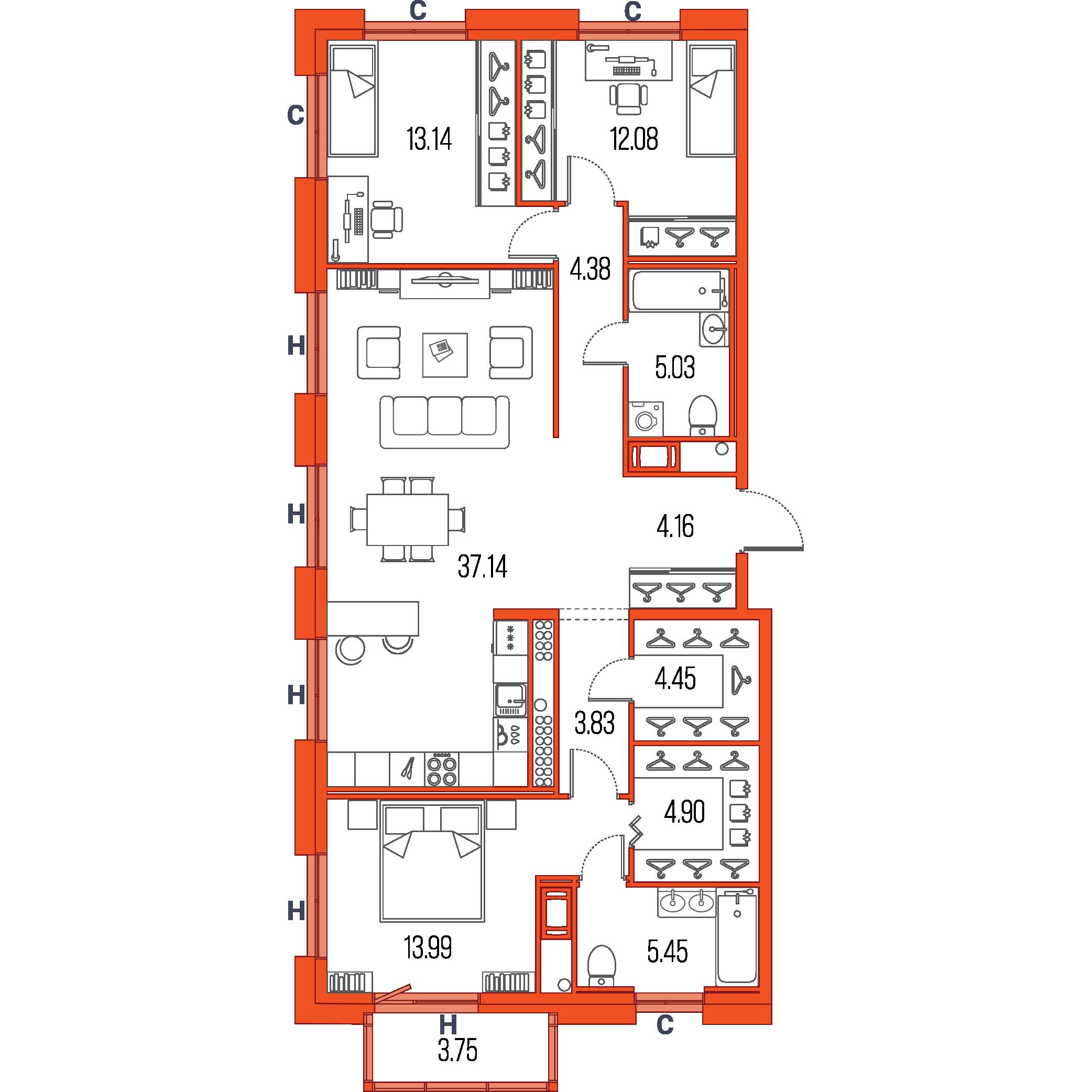 3-комнатная квартира №33 в: ЖК Легенда героев: 108.2 м²; этаж: 2 - купить в Санкт-Петербурге