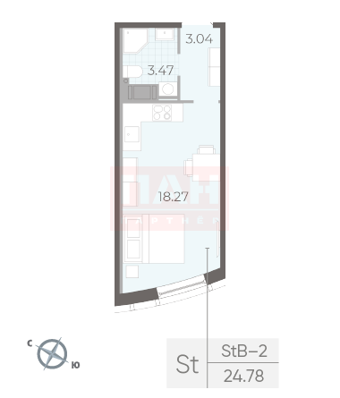 1-комнатная квартира, 24.78 м²; этаж: 6 - купить в Санкт-Петербурге