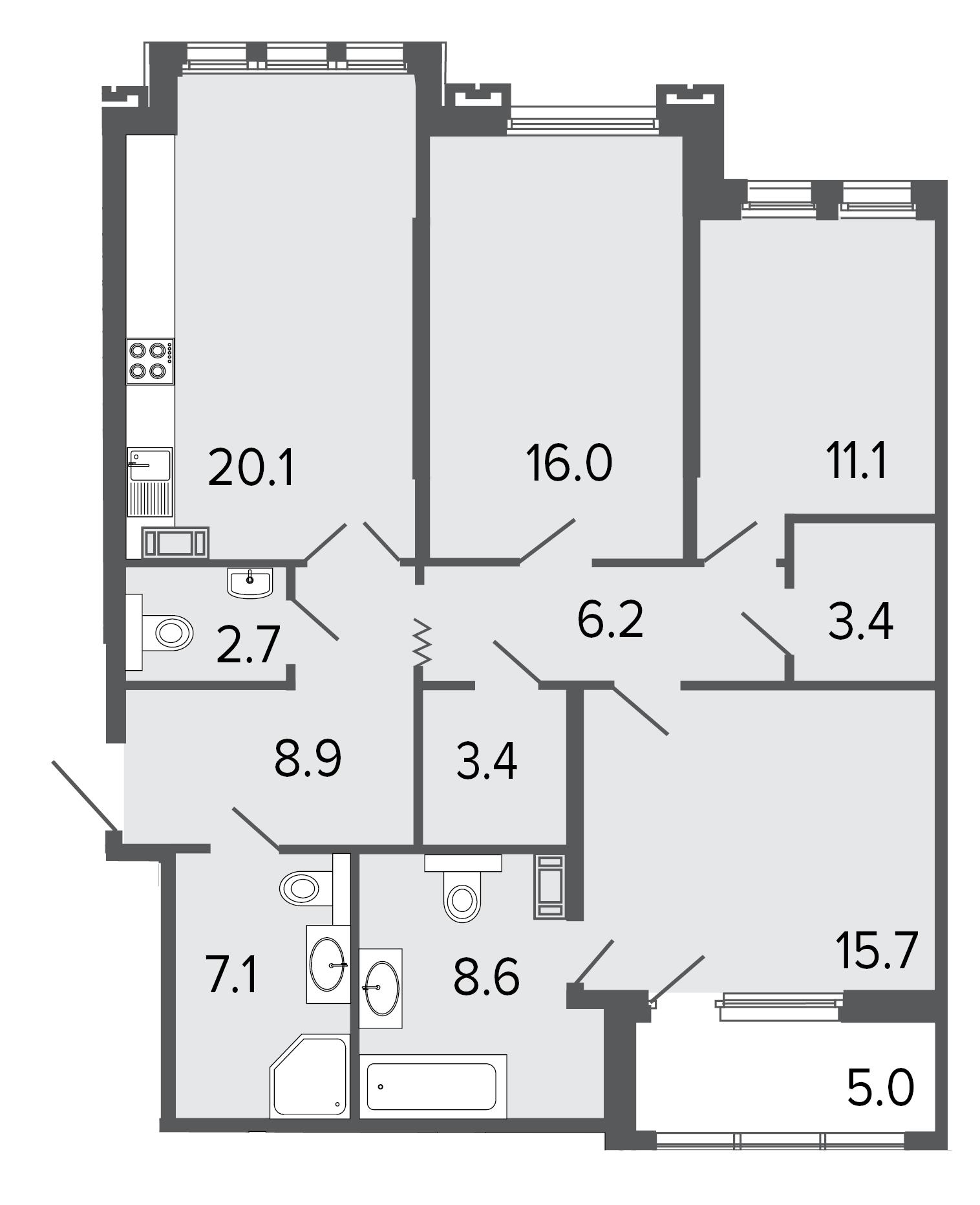 3-комнатная квартира, 103.2 м²; этаж: 4 - купить в Санкт-Петербурге