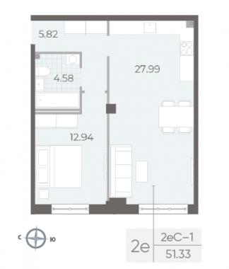 1-комнатная квартира №17А в: Neva Residence: 51.33 м²; этаж: 3 - купить в Санкт-Петербурге