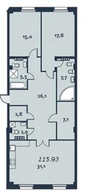 2-комнатная квартира, 116.3 м²; этаж: 4 - купить в Санкт-Петербурге