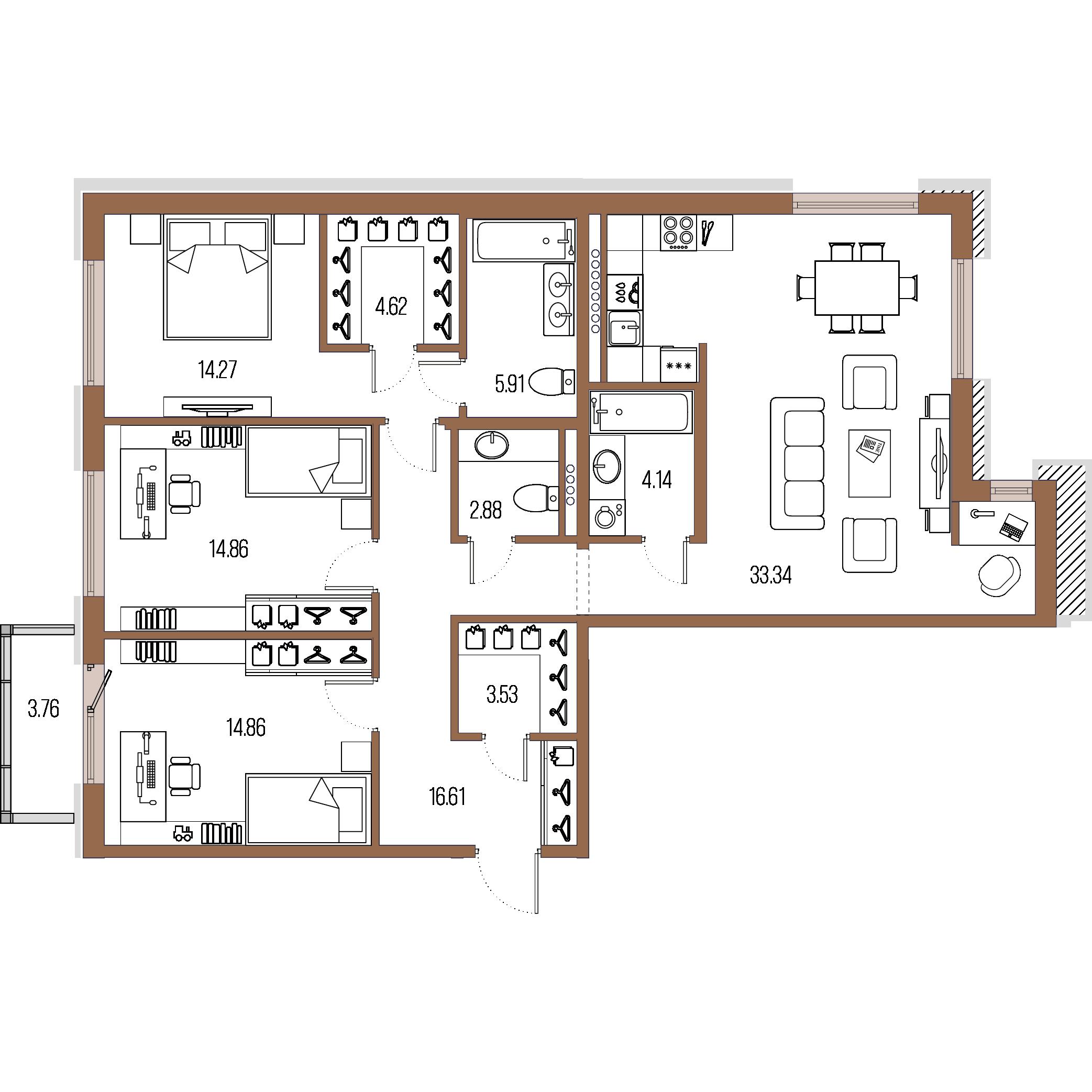 3-комнатная квартира, 115.02 м²; этаж: 4 - купить в Санкт-Петербурге