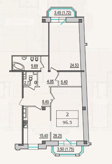 2-комнатная квартира №9 в: 4-я Советская, 9: 94.6 м²; этаж: 4 - купить в Санкт-Петербурге