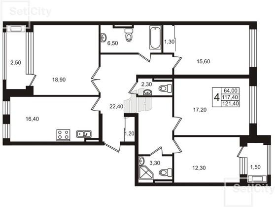 4-комнатная квартира, 118.1 м²; этаж: 7 - купить в Санкт-Петербурге