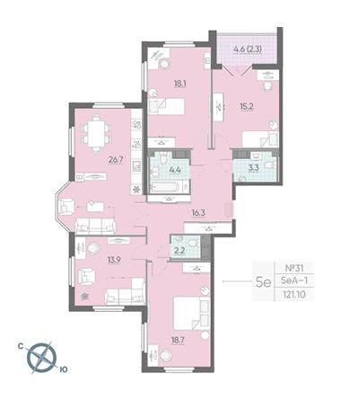 4-комнатная квартира №42 в: Цивилизация на Неве: 121.1 м²; этаж: 12 - купить в Санкт-Петербурге