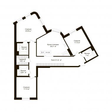 3-комнатная квартира, 141.59 м²; этаж: 2 - купить в Санкт-Петербурге
