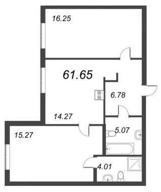 2-комнатная квартира, 61.65 м²; этаж: 2 - купить в Санкт-Петербурге