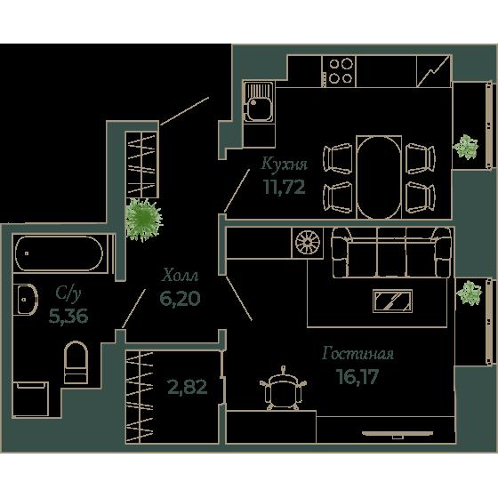 1-комнатная квартира, 42 м²; этаж: 2 - купить в Санкт-Петербурге