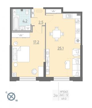 1-комнатная квартира №42 в: Цивилизация на Неве: 49 м²; этаж: 2 - купить в Санкт-Петербурге