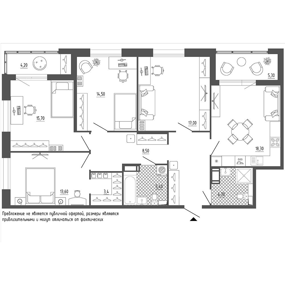 4-комнатная квартира №38 в: Галактика Премиум: 116.3 м²; этаж: 5 - купить в Санкт-Петербурге