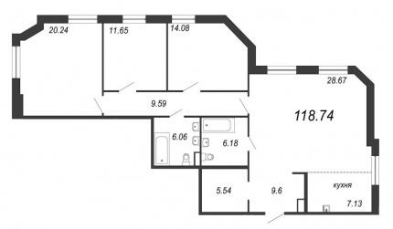 3-комнатная квартира, 118.74 м²; этаж: 4 - купить в Санкт-Петербурге