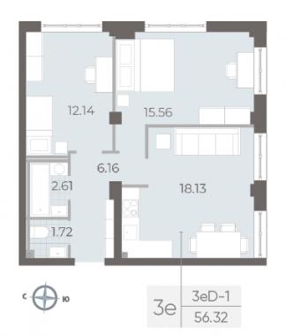 3-комнатная квартира №17А в: Neva Residence: 56.32 м²; этаж: 2 - купить в Санкт-Петербурге