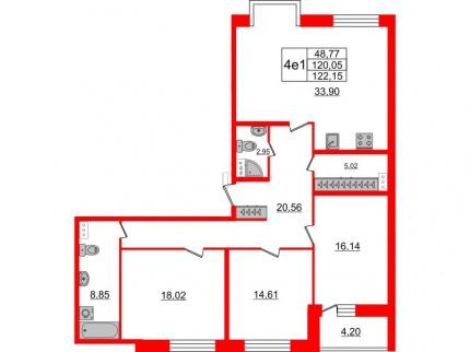 3-комнатная квартира, 120.05 м²; этаж: 5 - купить в Санкт-Петербурге