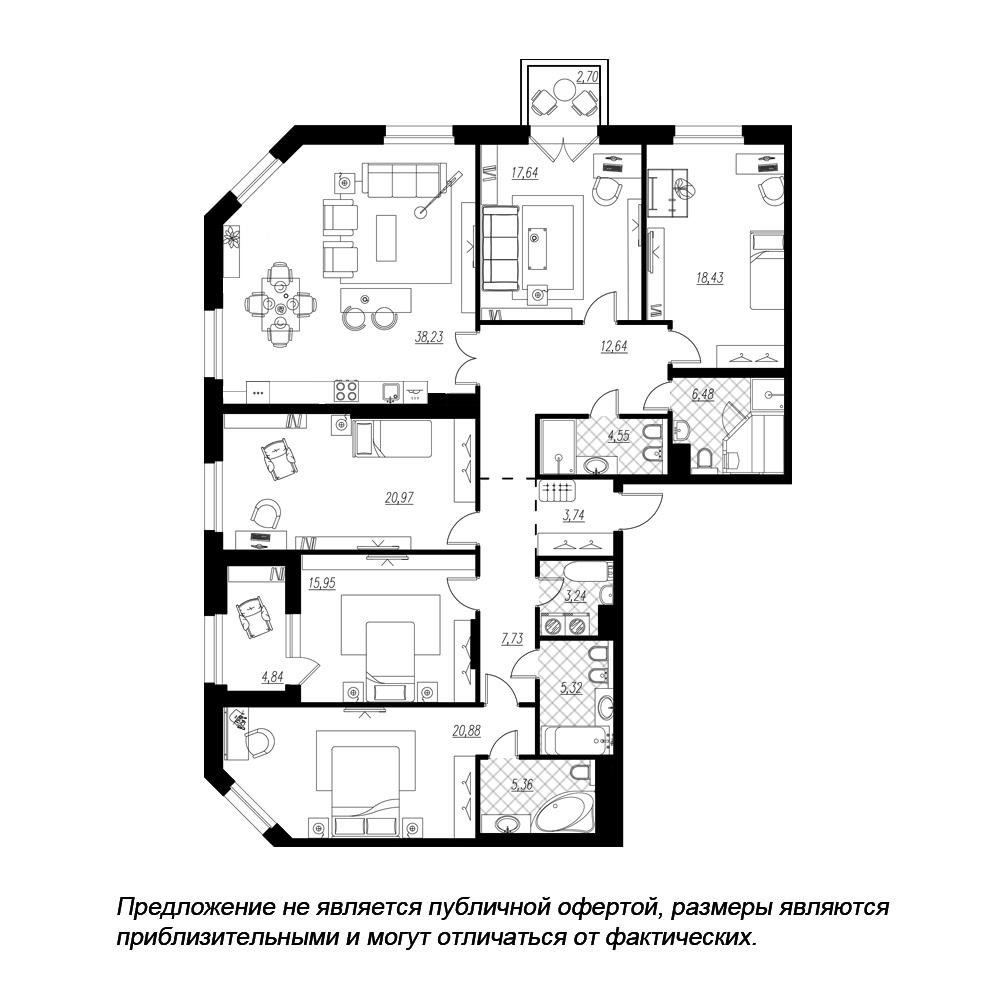5-комнатная квартира, 184.39 м²; этаж: 4 - купить в Санкт-Петербурге