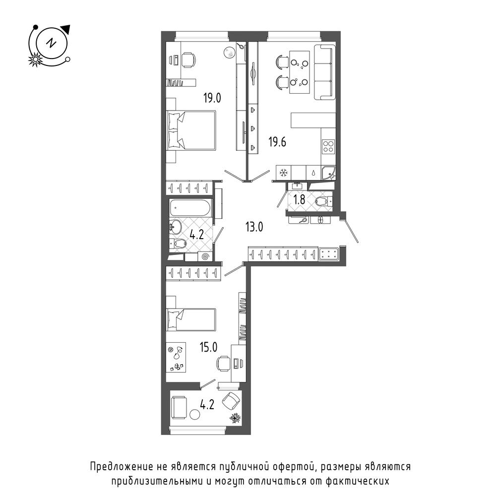 2-комнатная квартира, 74.7 м²; этаж: 7 - купить в Санкт-Петербурге