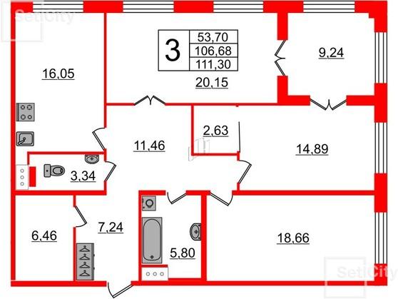 3-комнатная квартира №26 в: Петровский квартал на Неве: 106.68 м²; этаж: 5 - купить в Санкт-Петербурге