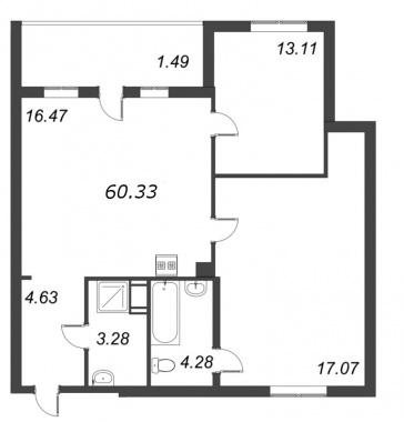 2-комнатная квартира №72 в: ID Moskovskiy: 60.33 м²; этаж: 10 - купить в Санкт-Петербурге
