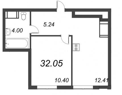 1-комнатная квартира, 32.05 м²; этаж: 4 - купить в Санкт-Петербурге