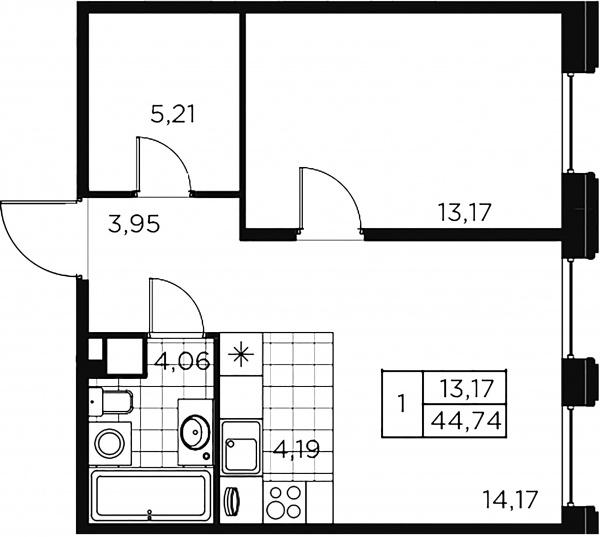 1-комнатная квартира, 44.74 м²; этаж: 2 - купить в Санкт-Петербурге