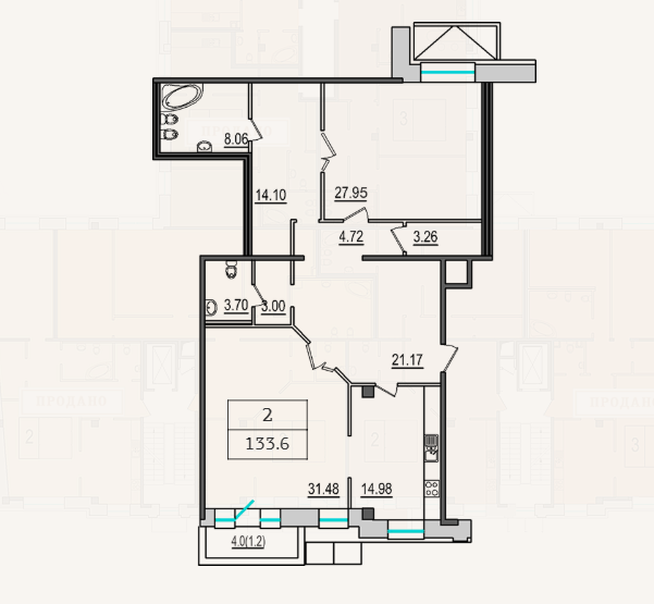 2-комнатная квартира №9 в: 4-я Советская, 9: 133.6 м²; этаж: 2 - купить в Санкт-Петербурге