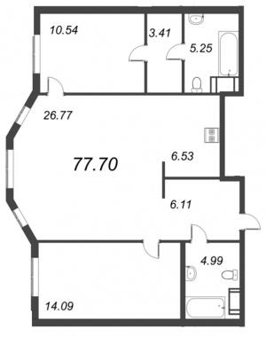 2-комнатная квартира №72 в: ID Moskovskiy: 77.7 м²; этаж: 7 - купить в Санкт-Петербурге