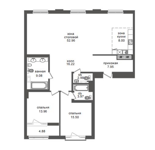 2-комнатная квартира №32А в: Приоритет: 132.35 м²; этаж: 6 - купить в Санкт-Петербурге