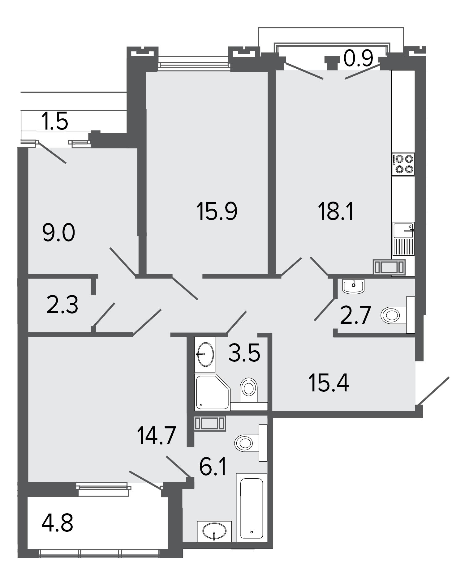 3-комнатная квартира, 87.7 м²; этаж: 7 - купить в Санкт-Петербурге