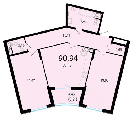 2-комнатная квартира №1 в: ЖК Пять звезд: 92.5 м²; этаж: 3 - купить в Санкт-Петербурге