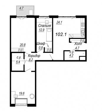 3-комнатная квартира, 102.1 м²; этаж: 7 - купить в Санкт-Петербурге