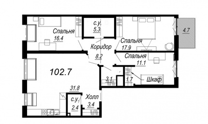 3-комнатная квартира, 102.7 м²; этаж: 7 - купить в Санкт-Петербурге