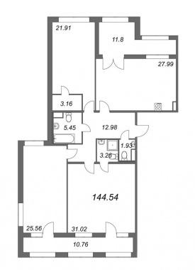 3-комнатная квартира, 144.54 м²; этаж: 4 - купить в Санкт-Петербурге