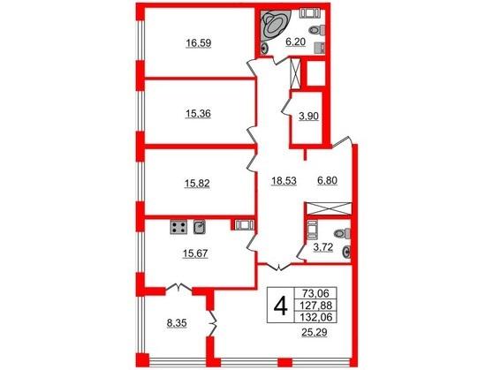 4-комнатная квартира, 127.9 м²; этаж: 2 - купить в Санкт-Петербурге