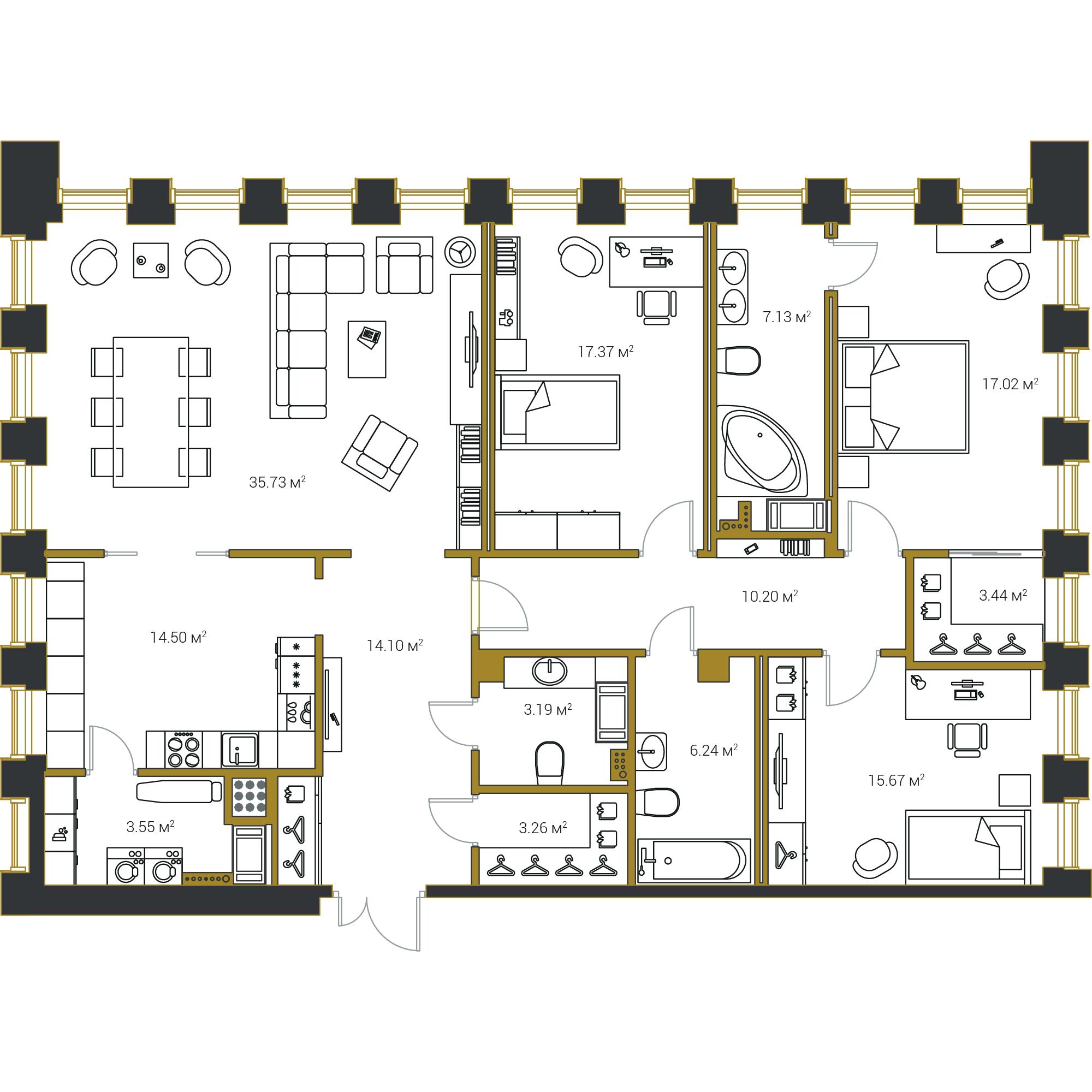 3-комнатная квартира, 151.4 м²; этаж: 15 - купить в Санкт-Петербурге