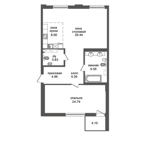 1-комнатная квартира №32А в: Приоритет: 90.02 м²; этаж: 4 - купить в Санкт-Петербурге