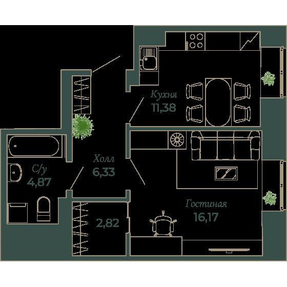 1-комнатная квартира, 41.9 м²; этаж: 5 - купить в Санкт-Петербурге